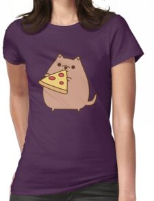 Pupsheen Eating Pizza Womens Fitted T-Shirt