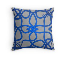 Blue Viking Knot Over Gray Throw Pillow