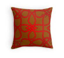 Red Viking Knot Over Brown Throw Pillow