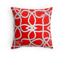 White Viking Knot Over Red Throw Pillow