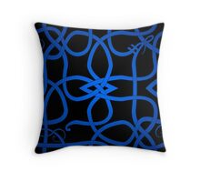 Blue Viking Knot Over Black Throw Pillow