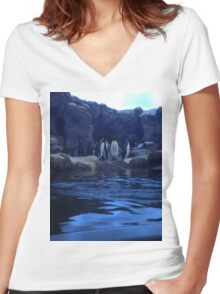 Penguin Plunge Women's Fitted V-Neck T-Shirt