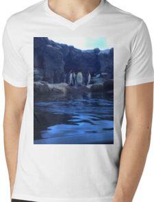 Penguin Plunge Mens V-Neck T-Shirt