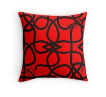 Black Viking Knot Over Red Throw Pillow