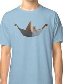 PAPER BOAT WITH DRAKKAR FIGUREHEAD AND STERN AND ITS VIKING - full color Classic T-Shirt