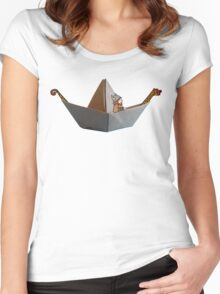 PAPER BOAT WITH DRAKKAR FIGUREHEAD AND STERN AND ITS VIKING - full color Women's Fitted Scoop T-Shirt