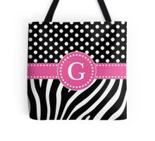 Black and White Zebra Stripes and Polka Dots G Monogram Tote Bag