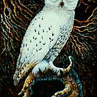 Snowy White Owl~Relief wood carving, painted with acrylics (11x17) by Elaine Bawden