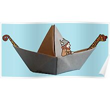 PAPER BOAT WITH DRAKKAR FIGUREHEAD AND STERN AND ITS VIKING - full color Poster