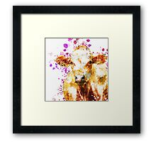 Watercolor Cow Design, Love Cows, Cow Art Framed Print