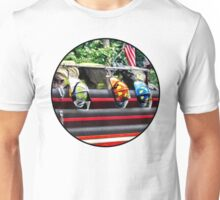 Three Fire Helmets on Fire Truck Unisex T-Shirt