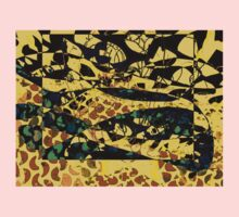 Camuflage cat - black and yellow - by Ana canas One Piece - Short Sleeve