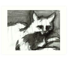 Figure Drawing of a Scary Cat II Art Print