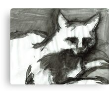Figure Drawing of a Scary Cat II Canvas Print