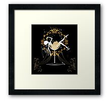Gold chic elegant black glitter new year party Framed Print