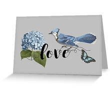 Bluebird Love Floral Greeting Card