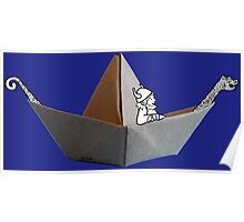 PAPER BOAT WITH DRAKKAR FIGUREHEAD AND STERN AND ITS FRIENDLY VIKING - black n' white Poster