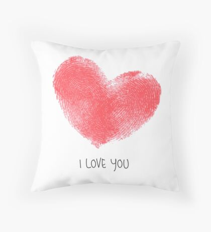 Creative poster with double fingerprint heart. Throw Pillow