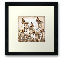 Monarch Butterflies and Spear Thistles Framed Print