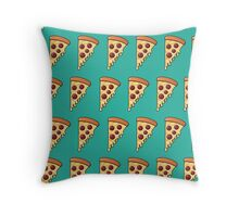 Pepperoni Pizza Passion - Teal Throw Pillow