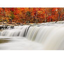 Flowing Water and Fall Leaves Photographic Print