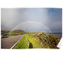 Double Rainbow over Golspie Beach and Ben Bhraggie Poster
