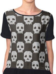 Knitted skull pattern Chiffon Top