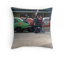 Who removed the spear wheel?? Throw Pillow