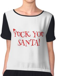 Santa Claus Holiday Happy New Year Merry Christmas Funny Sarcastic T-Shirts Chiffon Top