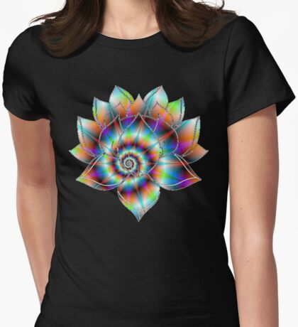 Psychedelic Lotus Womens Fitted T-Shirt
