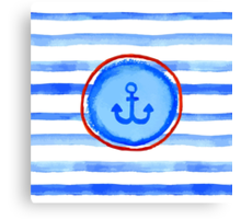 Stripes and anchor. Canvas Print