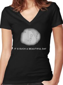 Its such a beautiful day + logo Women's Fitted V-Neck T-Shirt