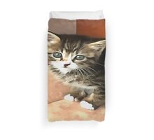 Tabby Kitten Named Miss Pip Squeak Duvet Cover