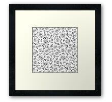 Hand drawn seamless vector pattern with flowers Framed Print