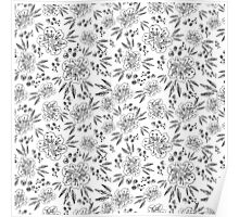 Hand drawn seamless vector pattern with flowers Poster