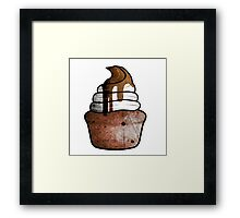 chocolate muffin with whipped cream Framed Print
