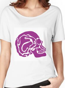 stylized colored human skull Women's Relaxed Fit T-Shirt