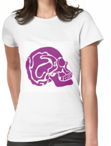 stylized colored human skull Womens Fitted T-Shirt