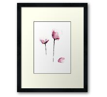 Pink Tulip Watercolor Flower Painting Drawing Illustration Poster Framed Print