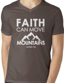 Faith Can Move Mountains Matthew 17:20 - Christian Gifts Mens V-Neck T-Shirt