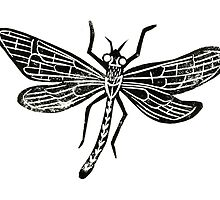 Dragonfly Insect Lino Print by Hazel Partridge