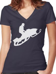 snowmobile : silhouettes Women's Fitted V-Neck T-Shirt