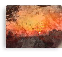 Winter Sunset Watercolour Canvas Print