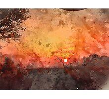 Winter Sunset Watercolour Photographic Print