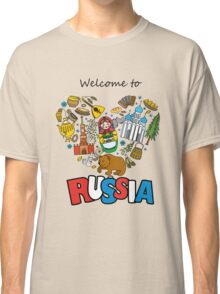 Welcome to Russia. Russian symbols, travel Russia Classic T-Shirt