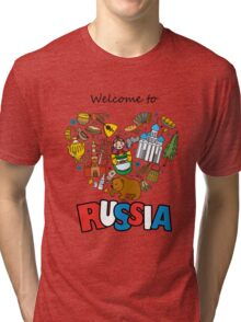 Welcome to Russia. Russian symbols, travel Russia Tri-blend T-Shirt