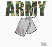 Army Camouflage w/ Dog Tags Military Kids Tee