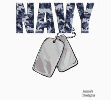 Navy Camouflage w/ Dog Tags Military Kids Tee