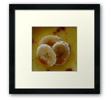 Pudding Dessert With Caramel and Bananas Framed Print
