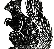 Squirrel Lino Print by Hazel Partridge